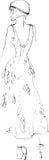 Svartvitt skissa av en flicka i en härlig klänning Royaltyfri Bild