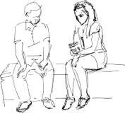 Svartvitt skissa av man och kvinna på en bänk Arkivfoton