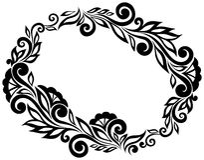 Svartvitt snöra åt blommor och sidor som isoleras på vit. Beståndsdel för blom- design i retro stil. Royaltyfri Foto