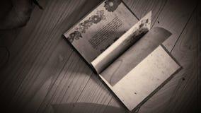 Svartvitt stilisera animeringen av en boköppning, med slingriga blad och begreppsmässig bakgrund för gardiner