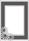 Svartvitt vävt blom- mönstrar inramar gränsar Royaltyfri Foto