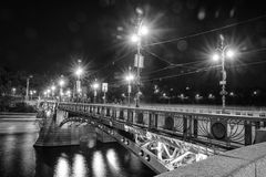 Svatopluk Cech Bridge in Prague in black and white Royalty Free Stock Image