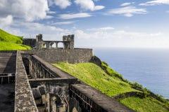 Svavelkullefästning i St Kitts Arkivbilder