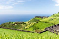 Svavelkullefästning, St Kitts och Nevis Fotografering för Bildbyråer