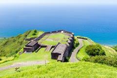 Svavelkullefästning, St Kitts och Nevis Arkivbild