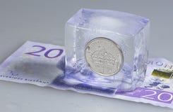 Svedese una moneta della corona svedese in ghiaccio Fotografie Stock Libere da Diritti