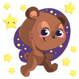 Svegli divertenti vanno vettore di clipart dell'orso del fumetto del letto con le stelle illustrazione di stock