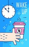 Svegli il manifesto con l'orologio, la mano e la tazza di caffè su fondo blu Linea sottile progettazione piana Vettore Immagine Stock Libera da Diritti