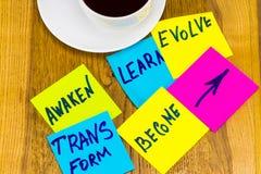 Svegli, impari, evolva, trasformi e trasformi in - in nuovo ispiratore Immagine Stock