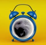 Sveglia blu con il concetto del caffè su fondo giallo Immagini Stock Libere da Diritti