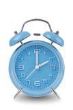 Sveglia blu isolata su bianco Fotografie Stock
