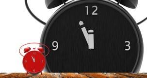 Sveglia con i piccoli minuti all'orologio del ` di dodici o Fotografie Stock