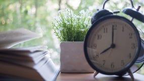 Sveglia, taccuino, vaso con i fiori e Apple sul desktop Lo studio di concetto Immagini Stock