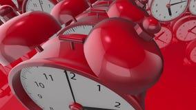 Sveglie nelle file nel colore rosso illustrazione vettoriale
