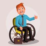 Sveglio, felice, il fumetto ha disattivato il carattere in una sedia a rotelle, riuscito uomo d'affari degli uomini Fotografie Stock Libere da Diritti