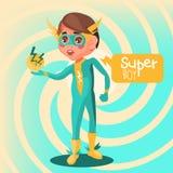 Sveglio, fumetto, ragazzo adorabile del supereroe Fotografia Stock