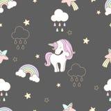 Sveglio senza cuciture dell'unicorno dei dolci del modello Fotografia Stock