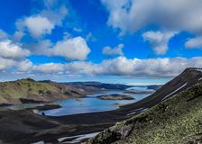 Breathtaking panorama of the lake Langisjor and Vatnajokull glacier in sunny weather royalty free stock images