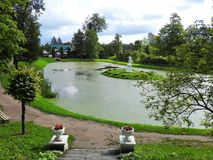 Sveksna town park, Lithuania royalty free stock photography