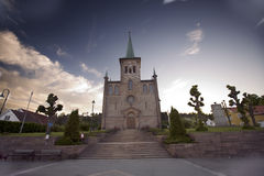 Svelvik Church. Church in Norway with a clear blue evening sky Stock Image