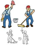 Sven sweeping and wiping. Janitor cleaning up. Comes with black outline versions Royalty Free Stock Photos