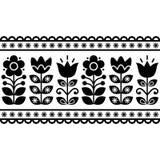 Svensk blom- retro modell - svartvit vektordesign för sömlös lång traditionell folkkonst Arkivbilder