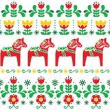 Svensk Dala hästmodell, skandinavisk sömlös folkkonstdesign med blommor Arkivbilder