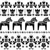 Svensk Dala hästmodell, skandinavisk sömlös folkkonstdesign med blommor Arkivfoton