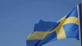 Svensk flagga mot blå himmel lager videofilmer