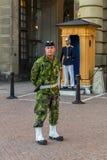 Svensk krigsmakt kommenderar i kamouflagelikformig utanför ret Arkivbilder