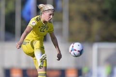 Svensk kvinnlig fotbollsspelare - Olivia Schough Arkivfoton
