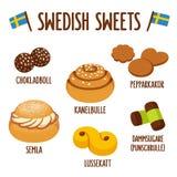 Svensk sötsakuppsättning vektor illustrationer
