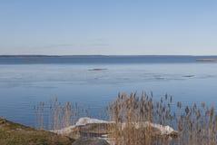 Svensk sjö Vanern i vinter arkivfoto