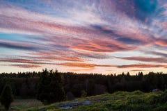 Svensk solnedgång över landsbygd fotografering för bildbyråer