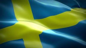 Svensk video för längd i fot räknat för flaggaCloseup som 1080p full HD 1920X1080 vinkar i vind Vinka för flagga för medborgare 3 vektor illustrationer