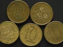 10 svenska Krona & x28; SEK& x29; mynt Arkivbilder