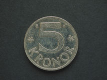 5 svenska Krona & x28; SEK& x29; mynt Fotografering för Bildbyråer