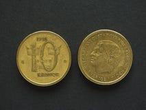10 svenska Krona & x28; SEK& x29; mynt Arkivbild