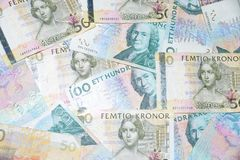 Svenska pengar på den vita bakgrunden Royaltyfri Fotografi