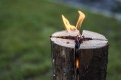Svensken tänder eld på brandbränningstumpen på plattan för vilar eller att laga mat kyligt lynne för mat Arkivfoton