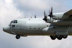Svenskt flygplan för flygvapenFlygvapnet Lockheed C-130H Hercules militärt transport Arkivbild