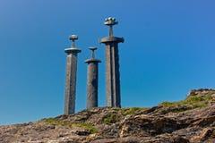 Sverd ja fjell zabytek, Stavanger (kordziki w skale) Zdjęcia Royalty Free