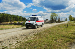Ambulance car in rural areas Stock Image