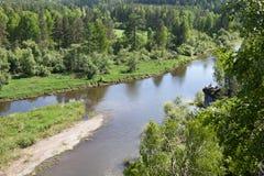 Sverdlovsk region Ryssland Naturligt parkera hjortströmmar Arkivbild
