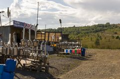 Sverdlovsk region,  Ural, Russia. September 1, 2017. Different nesessary things for auto are selling on the road between cities.  Stock Image