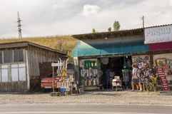 Sverdlovsk region,  Ural, Russia. September 1, 2017. Different nesessary things for auto are selling on the road between cities.  Royalty Free Stock Photo