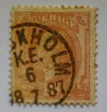WORLD VINTAGE STAMP STOCKHOLM 1887 , FINE GRAFICS. Sverige, an ancient name of Sweden, is on a postage stamp. dating back to 1887 Royalty Free Stock Photos