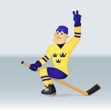 Sverige för ishockeylag spelare Royaltyfri Foto