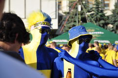 Sverige fan som rotar för deras lag Arkivfoton