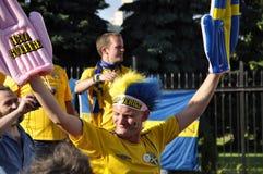 Sverige fan som rotar för deras lag Royaltyfri Foto